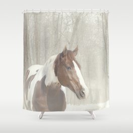 Sonny in the snow Shower Curtain