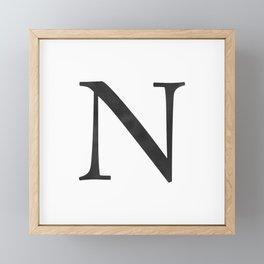 Letter N Initial Monogram Black and White Framed Mini Art Print