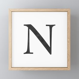 Letter N Initial Monogram Black and White Framed Mini Art Print