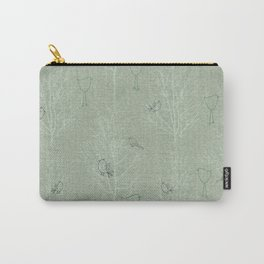 Cute Little Line Art Birds in White Trees - Sage Green Carry-All Pouch