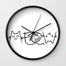 Meow Cute Cat Face Funny Costume product for Kawaii Girls Wall Clock