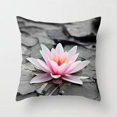 Pink Lotus Flower Waterlily Throw Pillow