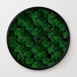 Monstera (Jungle) - Emerald x Black Wall Clock