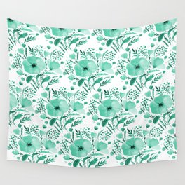 Flower bouquet with poppies - aqua Wall Tapestry