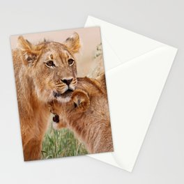 Two young lions - Africa wildlife Stationery Cards