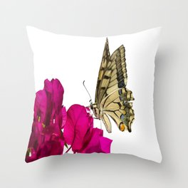 Swallowtail Butterfly On Bougainvillea Throw Pillow