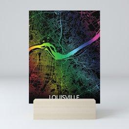 Louisville KY USA Rainbow City Map Mini Art Print