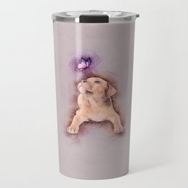 Staffordshire terrier Puppy with Butterfly Travel Mug