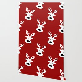 Reindeer on red background Wallpaper