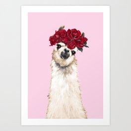 Llama with Red Roses Crown Art Print