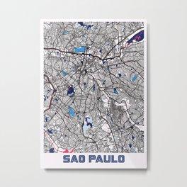 Sao Paulo - Brazil MilkTea City Map Metal Print