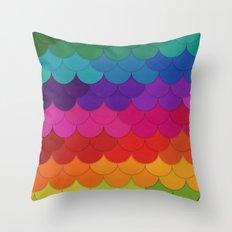 Rainbow Scallops Throw Pillow