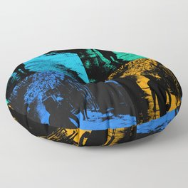 Blue party in the village Floor Pillow