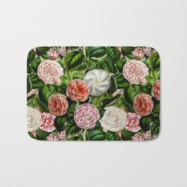 Vintage & Shabby Chic Green Dark Floral Camellia  Flowers Watercolor Pattern Bath Mat