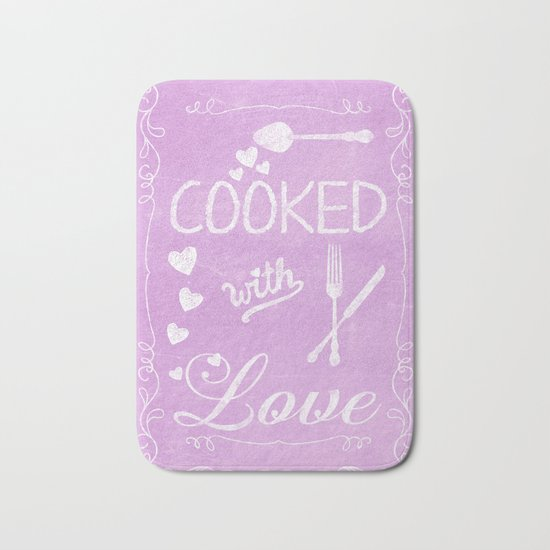 Cooked with love chalkboard sighn Bath Mat