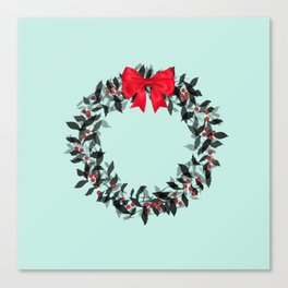 Christmas Wreath with Red Bow #Christmas #holidays Canvas Print