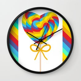 Valentine's Day Heart shaped candy lollipops with bow, colorful spiral candy cane with rainbow Wall Clock