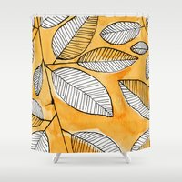 striped Shower Curtains featuring Striped leaves by Marta Li