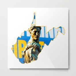 West Virginia State Map Mountaineers Gifts Metal Print