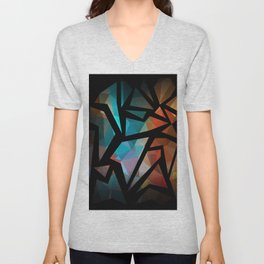 Abstract background of triangles polygon print. Unisex V-Neck