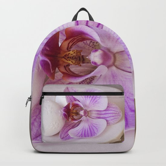 Zen style pink orchid still life purity exotic tropical Backpack