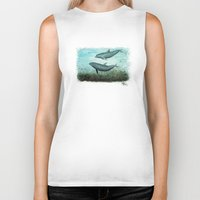 dolphins Biker Tanks featuring Two Inshore Dolphins ~ Watercolor by Amber Marine