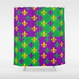 Mardi Gras Fleur-de-Lis Pattern Shower Curtain