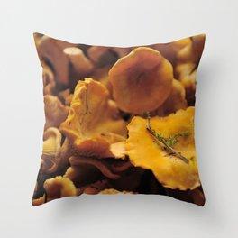 Chantarelle mushrooms. Throw Pillow