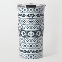 Aztec Stylized Pattern Gray-Blues & White Travel Mug