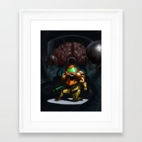 metroid Framed Art Prints featuring Metroid by Adrien Le Coz