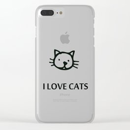 I LOVE CATS BLUE Clear iPhone Case