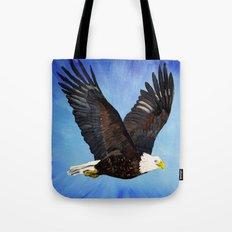 Bald eagle in flight Tote Bag