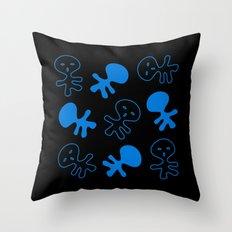 Aliens-Blue Throw Pillow