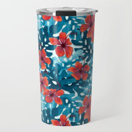 Tropical Hibiscus Pattern Red Travel Mug