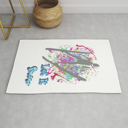 Let It Snow Skier Graffiti Rug