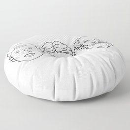 Morphing from Young Adult Middle Age Drawing Floor Pillow