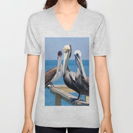 Larry, Curly and Moe Pelicans Unisex V-Neck
