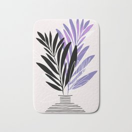Lavender Olive Branches / Contemporary House Plant Drawing Bath Mat
