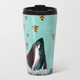 Pizza Shark Print Travel Mug