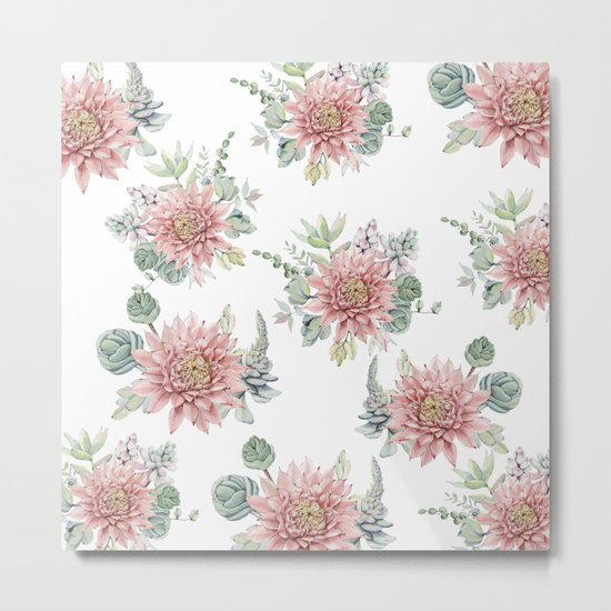 Flowering Succulents Metal Print
