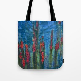 Red On Blue Tote Bag