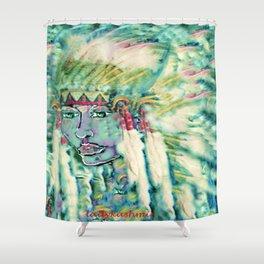 Blue green Indian Maiden headress by ladykashmir Shower Curtain