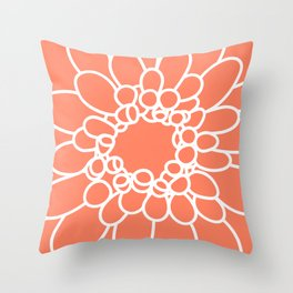 Coral Chrysanth Throw Pillow