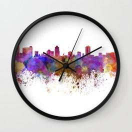 St Petersburg skyline in watercolor background Wall Clock