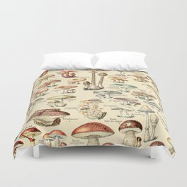 Trippy Vintage Mushroom Chart // Champignons by Adolphe Millot XL 19th Century Science Artwork Duvet Cover