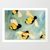 bees Art Prints featuring Bees by Claire Whitehead