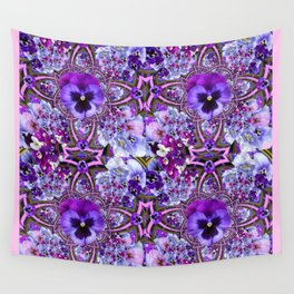 AWESOME GEOMETRIC LILAC PURPLE PANSIES GARDEN ART Wall Tapestry