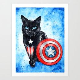 Captain Amerikitten Art Print