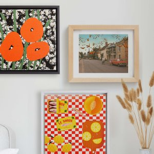 gallery wall of framed canvas and recessed framed prints
