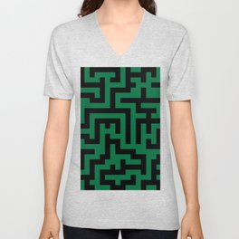 Black and Cadmium Green Labyrinth Unisex V-Neck